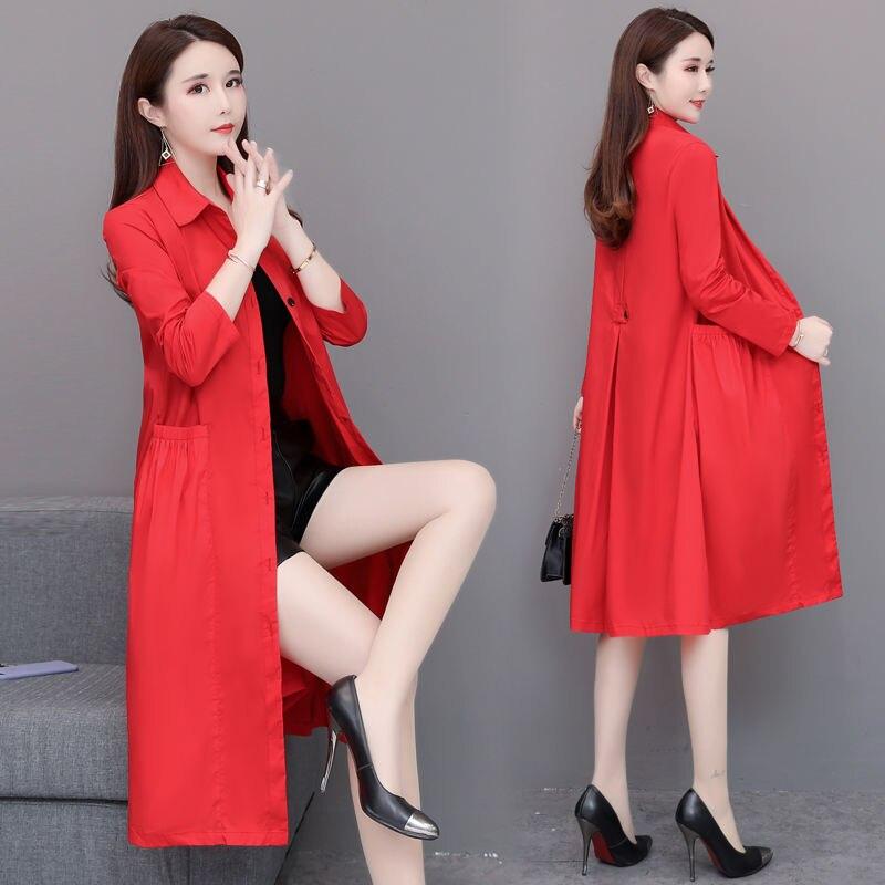 Women Windbreaker 2019 Spring Korean Style Thin Trech Women Medium Long Loose Trench Red Black Khaki Coat Female
