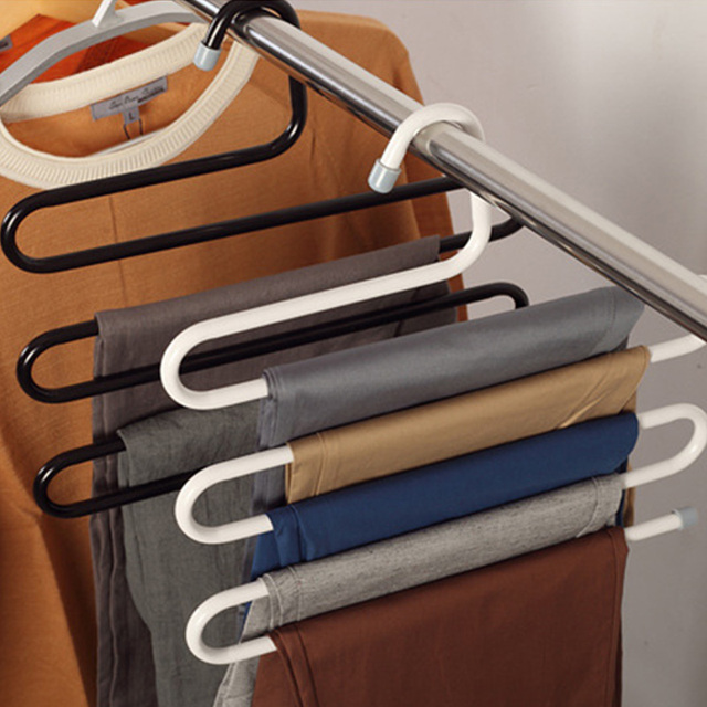 Delightful Home S Shaped Stainless Steel Pant Holder Tie Rack For Clothes Hanger  Organizer Travel Closet