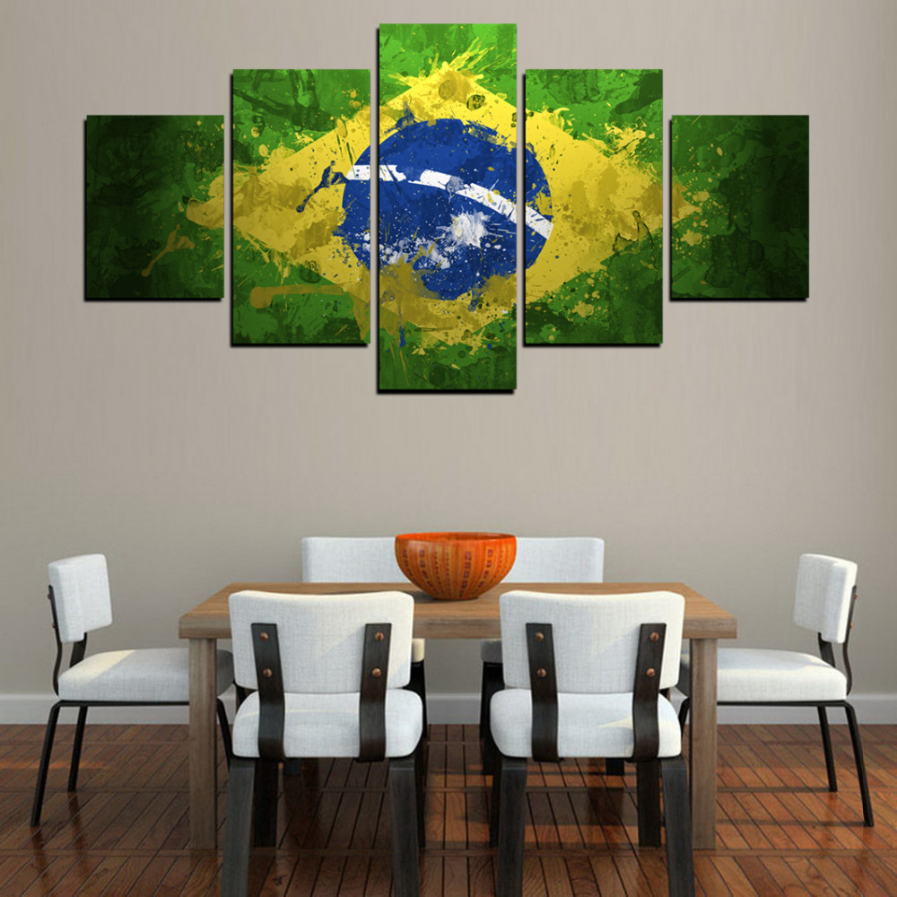 Painting In Living Room Wall Aliexpresscom Buy 5 Panels Brazil Flag Painting For Living Room