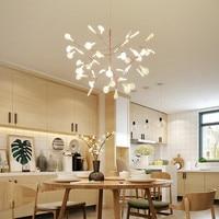 Nordic книги по искусству минималистский люстра Светлячок лаконичный дерево листья кофе магазин светодио дный бар led висит светильники с свет