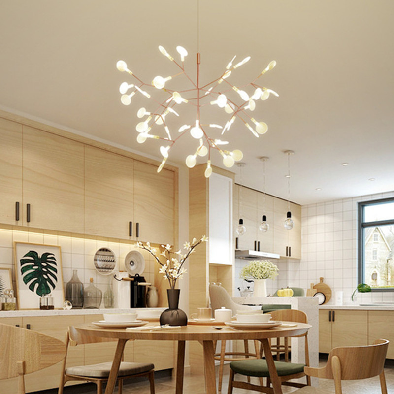 Nordic Art Minimalist Firefly Chandelier Concise Tree Leaves Coffee Shop Bar LED Hanging Light Fixtures With LED Bulbs nordic post modern denmark creative chandelier art crown bar coffee shop decoration light dining lights with led bulbs