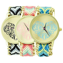 Hot Sales Women's Fashion Ethnic Love Heart Golden Tone Dial Knitted Rope Alloy Weave Band Wrist Watch 5UXE
