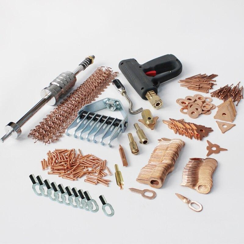 Stud soldador estação de solda de alumínio kit de reparação dent dent extrator martelo deslizante puxar garra pregos puxar pistola de solda ponto de solda anéis
