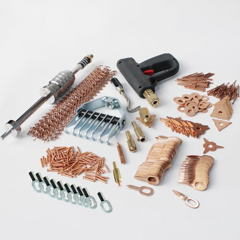 Della vite prigioniera saldatore dent kit di riparazione alluminio saldatura stazione di dent puller slide hammer tirando artiglio pistola di saldatura di saldatura a punti borchie tirare anelli