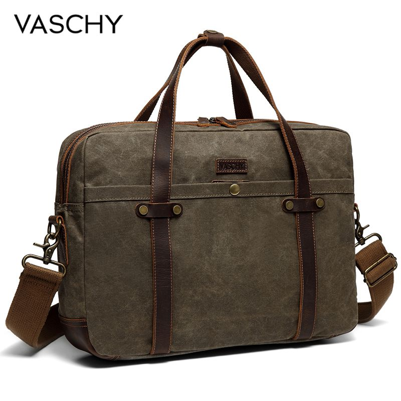 VASCHY Briefcase For Men Water Resistant Waxed Canvas Messenger Bag Fits 15.6 In Laptop Man Bag Vintage Leather Bag Briefcases
