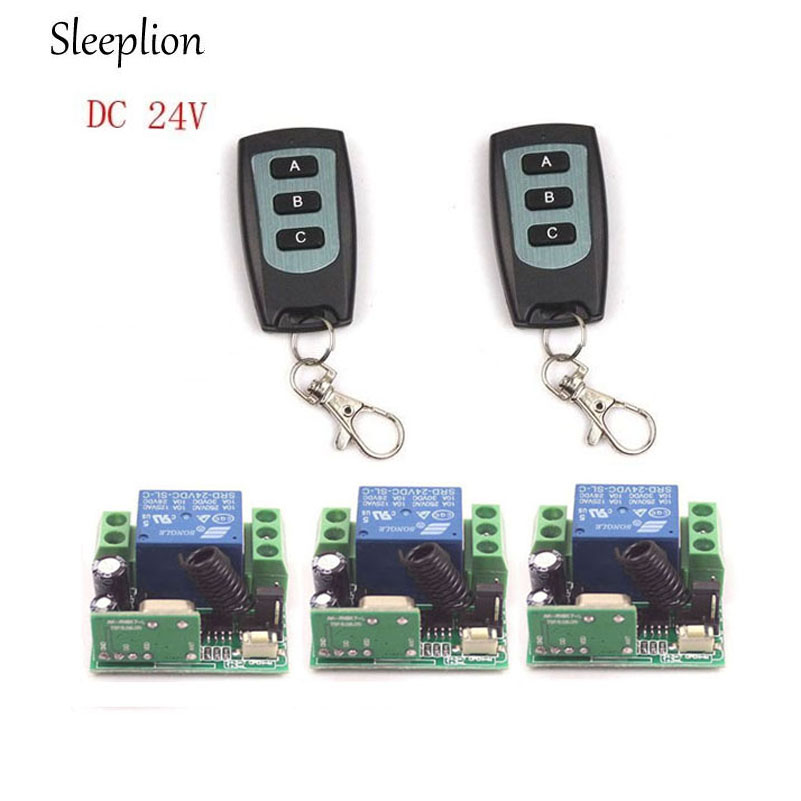 Sleeplion DC 24V 1CH Channel Wireless RF Remote 2 3 key Switch Transmitter 3 Receiver On
