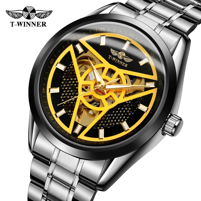 Saatler'ten Sevgili Saatleri'de KAZANAN Spor Stil İzle Erkekler Otomatik Mekanik Beyaz Altın Üçgen Dart İskelet Hakiki Tam Siyah Paslanmaz Çelik Bilek Saatler title=