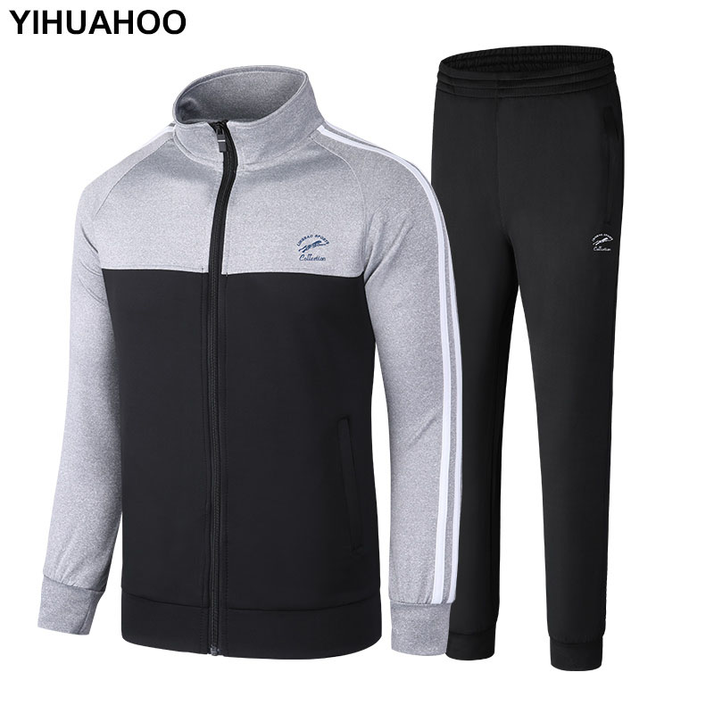 YIHUAHOO Brand Tracksuit Men Jacket And Pants Two Piece Clothing Set Casual Men's Sportswear Sweatshirt Track Suit 5XL LB-86012