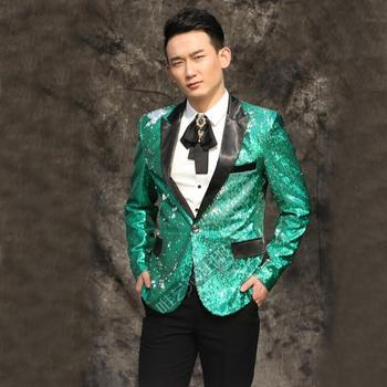 M-3xl Nightclub New 2020 Men Clothing Bar Ds Sequins Suit Groom Formal Dress The Host Studio Stage Male Singer Costumes