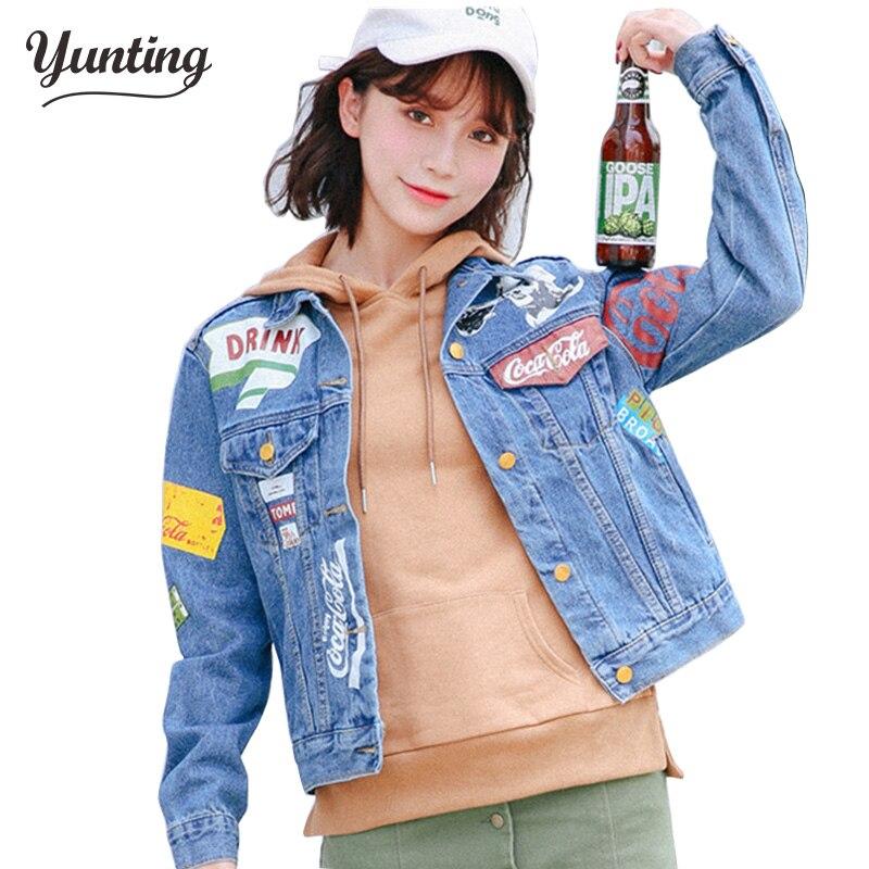 2018 new women street colorful party Epaulet patches blue lapel jeans jackets long sleeve harajuku vintage denim coat