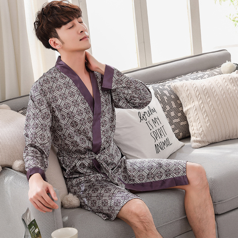 Summer Robe Gown Satin Sleepwear Print Geometry Nightwear Male Kimono Bathrobe Casual Home Clothes Lounge Intimate Lingerie