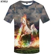 KYKU Brand Unicorn T-Shirt Cat Tshirt Streetwear Short Sleeve Shirt Flame Clothing Funny T Shirts Summer Fashion 2018 Casual New