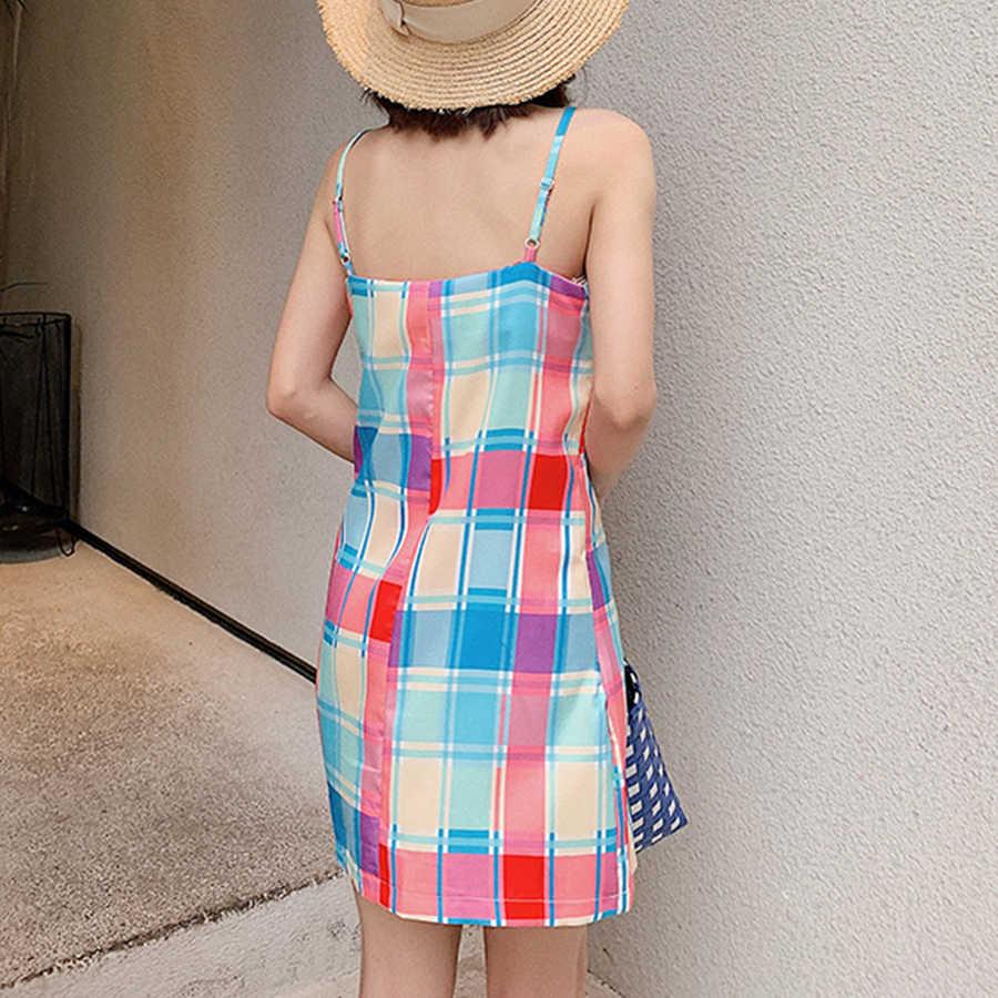 Клетчатое повседневное летнее платье с принтом женское Радужное облегающее тонкое короткое платье на тонких бретельках дамское модное пляжное мини-платье женское