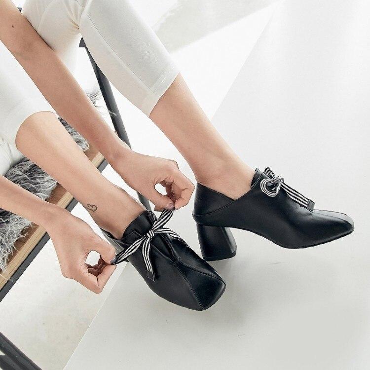 PXELENA Lederen Muilezels Pompen Vrouwen Schoenen Chunky Blok Hoge Hak Jurk Schoenen Elegante Strik Soft Comfort 2019 Plus Size-in Damespumps van Schoenen op  Groep 2