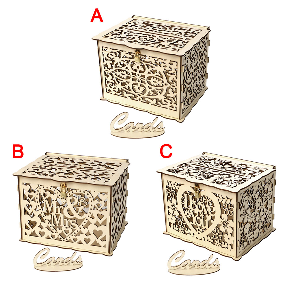 DIY Wooden Wedding Card Box with Lock and Slot for Rustic Wedding Decor New