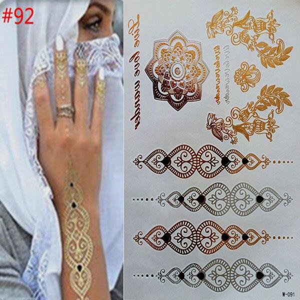 Временные татуировки золото ожерелье браслет татуировки продукты металлические временные татуировки женщины татуировки flash металла поддельные золотые и silve