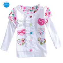 JUXINSU Girls Cotton Long Sleeve T-shirt Flower Lace Autumn Winter Girl Casual tshirt for Baby 1-8 Years Clothes