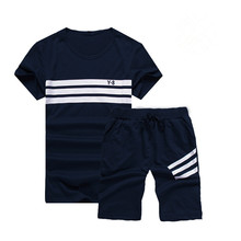 New Summer Suit of 2019 Korean Fashionable Two-piece Student Mens Short-sleeved T-shirt