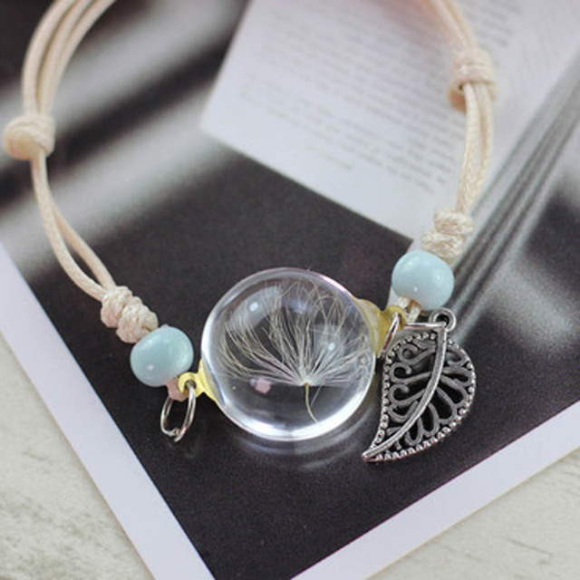 Boho Real Dry Flower Glass Bracelet