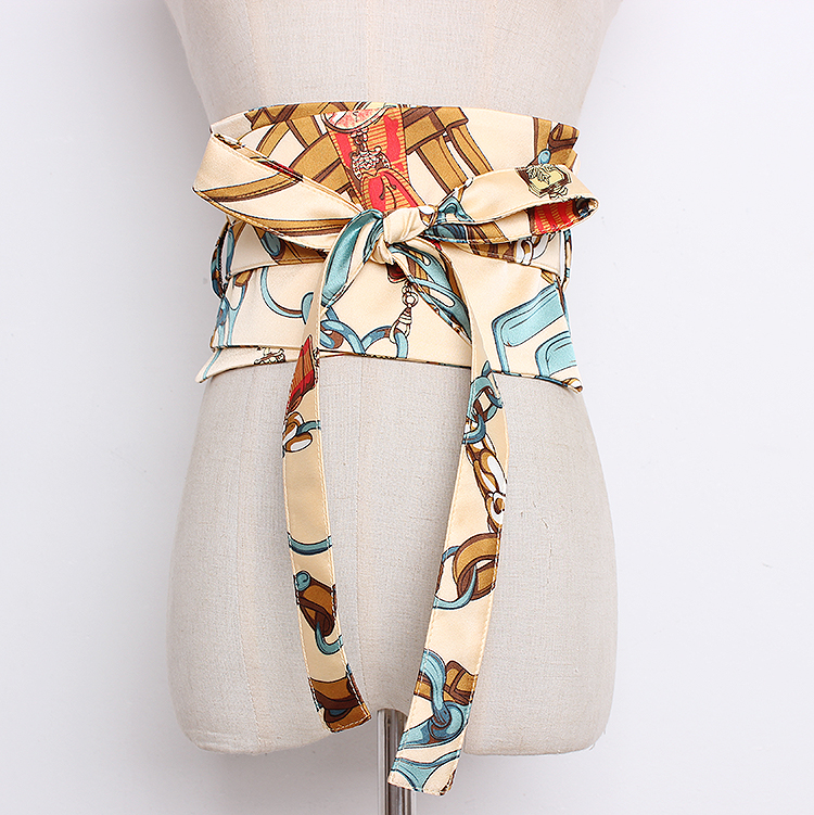 Women's Runway Fashion Print Satin Cummerbunds Female Dress Corsets Waistband Belts Bow Decoration Wide Belt R1320