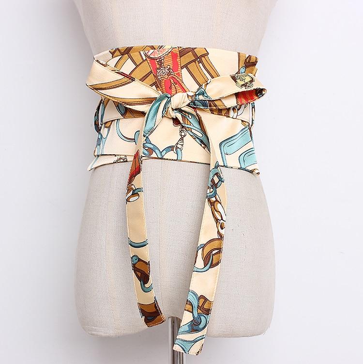 Women's Runway Fashion Print Satin Cummerbunds Female Dress Corsets Waistband Belts Bow Decoration Wide Belt R1320