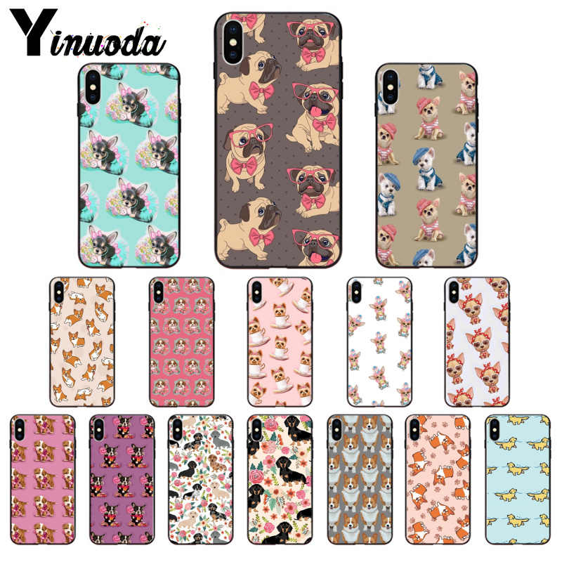 Yinuoda animal Dog Puppy Pug Chihuahua TPU Soft Phone Accessories Phone Case for iPhone X XS MAX 6 6S 7 7plus 8 8Plus 5 5S XR