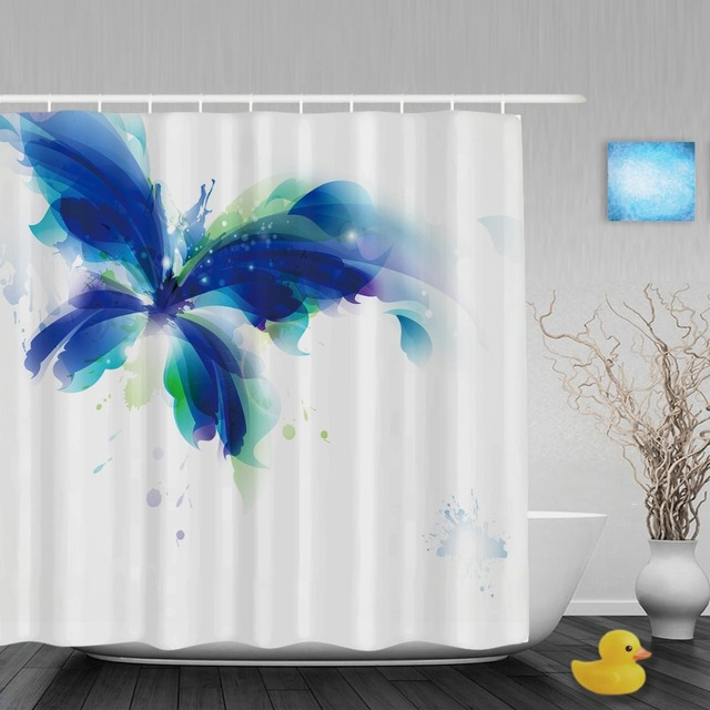 Art Paint Dancing Blue Butterfly Bathroom Shower Curtain Spring Animals Ployster Fabric With Hooks