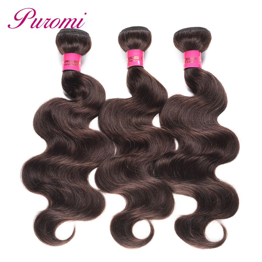 Human Hair Weaves 3/4 Bundles Careful Puromi Brazilian Body Wave Bundles Human Hair Extensions Pure Color #2 Hair Weave Non Remy Dark Brown 10-24 Inches 3pcs/lot