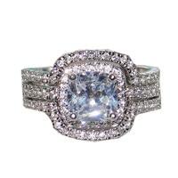 Choucong изделия Дамская 10KT белый Золотое покрытие площади кольца CZ свадебные кольцо на головщину для Для женщин 3 в 1 Размеры 5,6, 7,8, 9,10