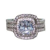 Choucong ювелирные изделия, дамское кольцо с 10KT кольцо из белого золота с квадратной формы CZ кольца комплект обручальное кольцо на головщину дл