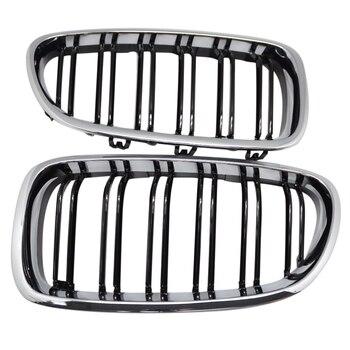 Серебро + черный двойной ребро Передняя решетка гриль бленда нос для BMW F10 F11 5 2010-2015