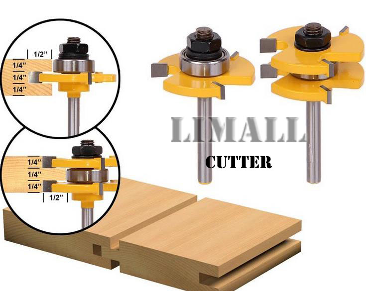 1/4 Shank -High grade 3 -tooth T Shaped floor plate knife engrave woodworking milling cutter-2pcs/set high grade carbide alloy 1 2 shank 2 1 4 dia bottom cleaning router bit woodworking milling cutter for mdf wood 55mm mayitr