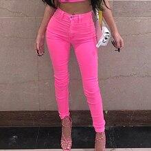 Brilhante neon rosa verde lápis calças de rua alta calças femininas magro cintura alta laranja calças senhoras longas magro sexy