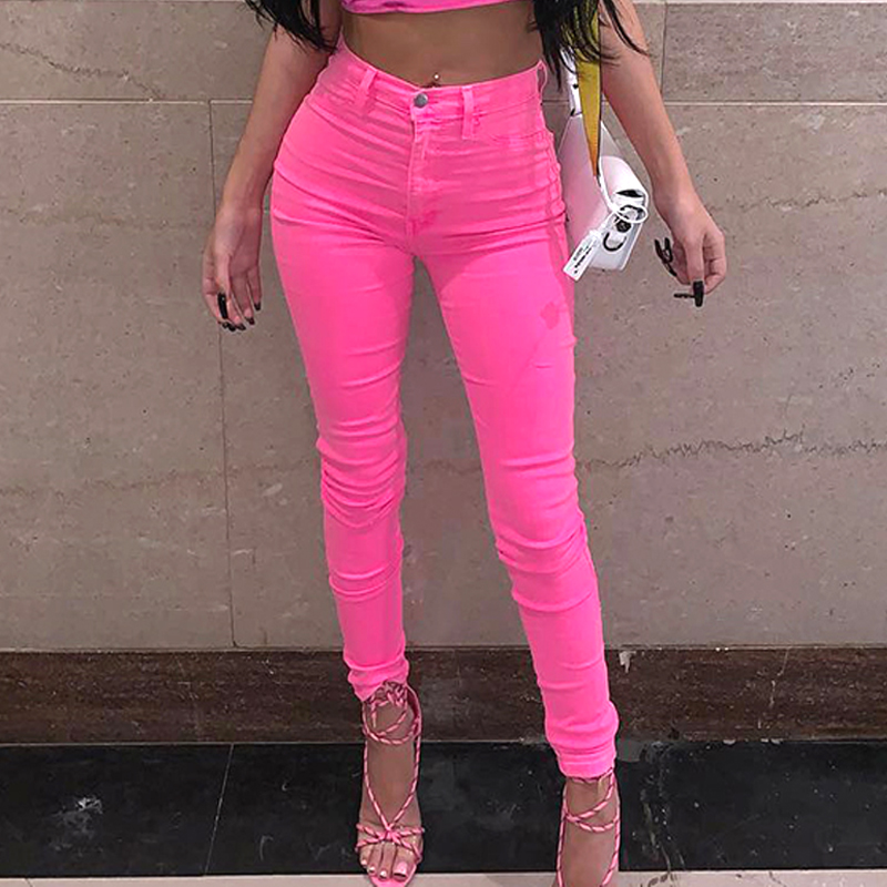 Shiny Neon Pink Green Pencil Pants High Street Women Trousers Skinny High Waist Orange Pants Ladies Long Trousers Skinny Sexy-in Pants & Capris from Women's Clothing