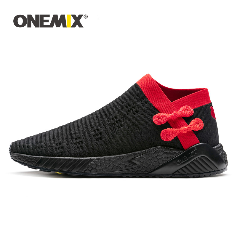 ONEMIX socks running shoes for men light cool breathable sneakers knitted vamp durable rubber outsole socks