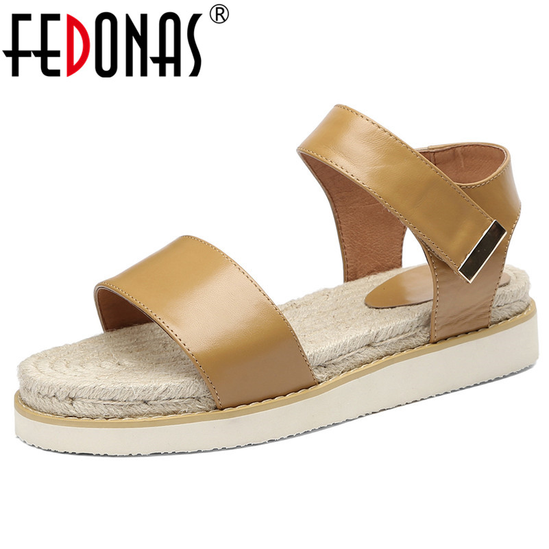 FEDONAS Classic Rome Round Toe Women Flats Concise Genuine Leather Party Casual Shoes Woman Beach Neutral