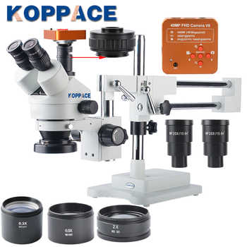 KOPPACE 2.1X-180X Trinocular Stereo Zoom Microscope with WF10X/20 WF20X/10 Wide-field Eyepieces 0.5X and 2.0X Barlow Lens - DISCOUNT ITEM  3 OFF Tools