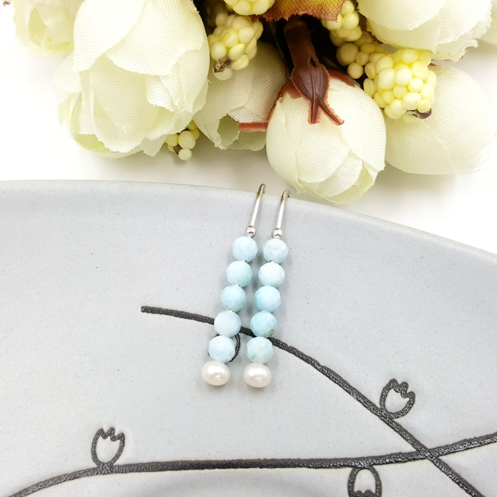 LiiJi Unique Natural Stone Blue Larimar Freshwater Pearl 925 Sterling Silver Earrings Women Fashion Daily Jewelry