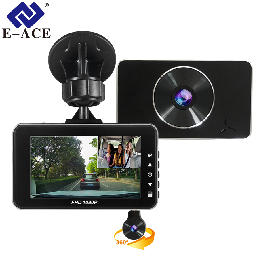 E-ACE Car DVR Dash Cam Novatek 96658 Camera Full HD 1080P 3.0 Inch Recorder Dashcam Two Lens Auto Registrator Video Car Recorder e ace car dvr original novatek 96223 mini camera full hd 1080p digital video recorder dash camcorder auto registrator dashcam