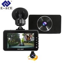 E-ACE Видеорегистраторы для автомобилей регистраторы Новатэк 96658 Камера Full HD 1080 P 3,0 дюйма регистратор, видеорегистратор два объектива Авто регистратор видео автомобиля Регистраторы