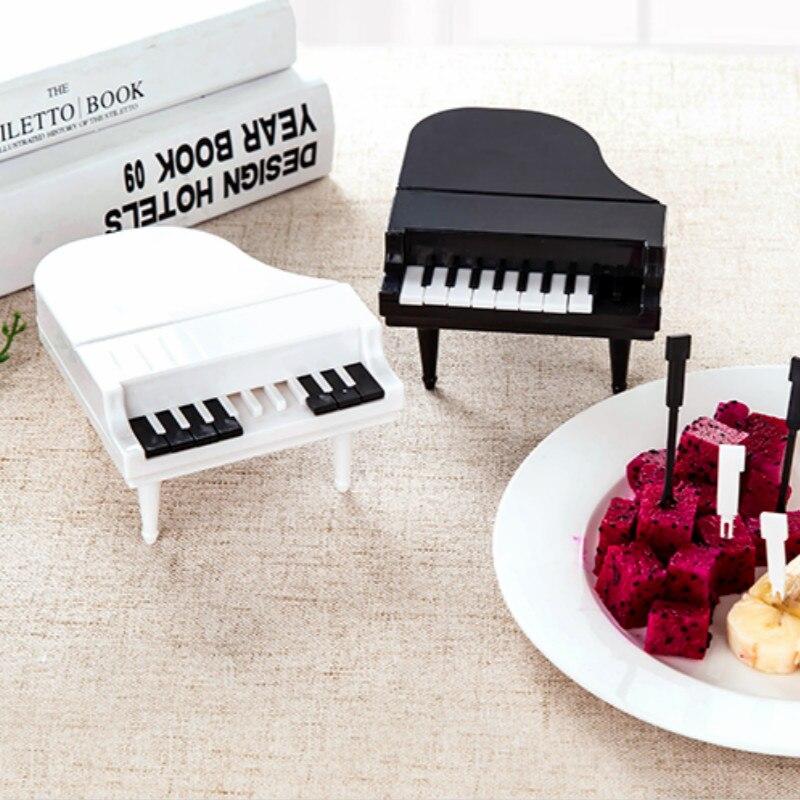 Creative Piano Style Keyboard Keys Fruit Fork Home Dessert Snack Fork Creative Child Fruit Sign Fruit Fork Plastic Fork 9PCS/Set