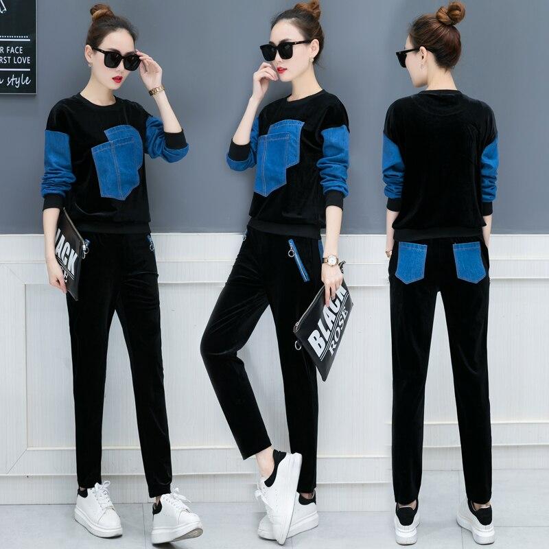 Otoño 2018 nuevo diseño ocio traje suelto de dos piezas casual traje coreano moda denim parche terciopelo buena tela sudaderas pantalones XXL - 4