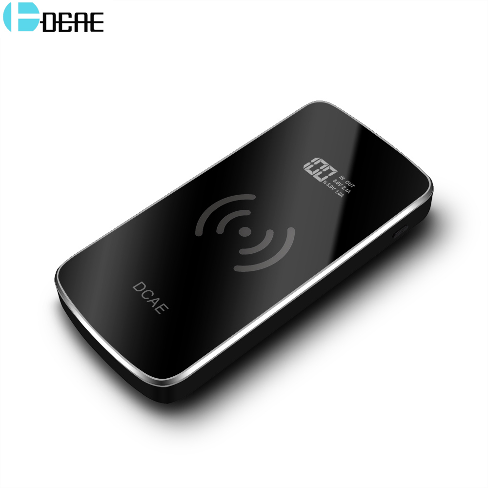 DCAE 10000mAh QI Wireless Charger Power Bank for iPhone X 8 Plus Samsung S9 S8 Fast Wireless Charging Powerbank External Battery