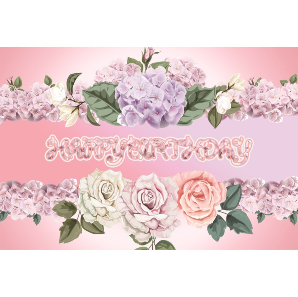 Laeacco Happy Birthday Party Baby Kid Blooming Flowers Photography Backdrops Photographic Backgrounds Photocall For Photo Studio