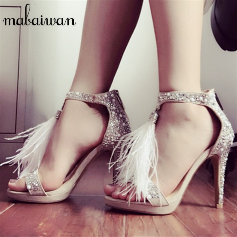 2017 Hot Sale Crystal Decor Women Gladiator Sandals Feather Fringed Women Platform Pumps High Heels Stiletto Wedding Shoes Woman new vogue celebrity brand desiger women sandals stiletto feather hairy buckle strap high heels bridesmaid bridal wedding pumps