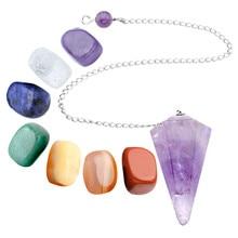 Sunligoo Set of 7 Chakras Crystal Healing Tumbled Pendulum Natural Stones And Minerals 15mm-25mm Crystals Decoration Figurine