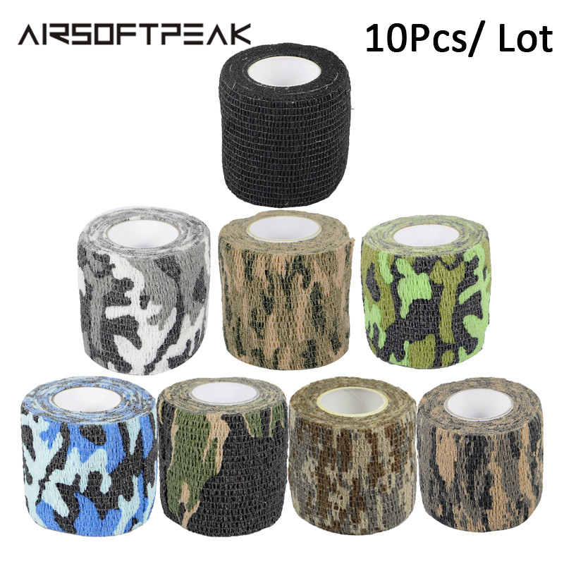 10Pcs/Lot Self-adhesive Camping Camo Tape Bandage Stealth Non-woven Paintball Rifle Hunting Shooting Waterproof Camouflage Tapes