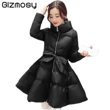 2016 New Winter Jacket Women Womens Coat Clothing Long Cotton Padded Slim Bow Waist Fluffy Skirt A Warm Coat Jacket BN401BN