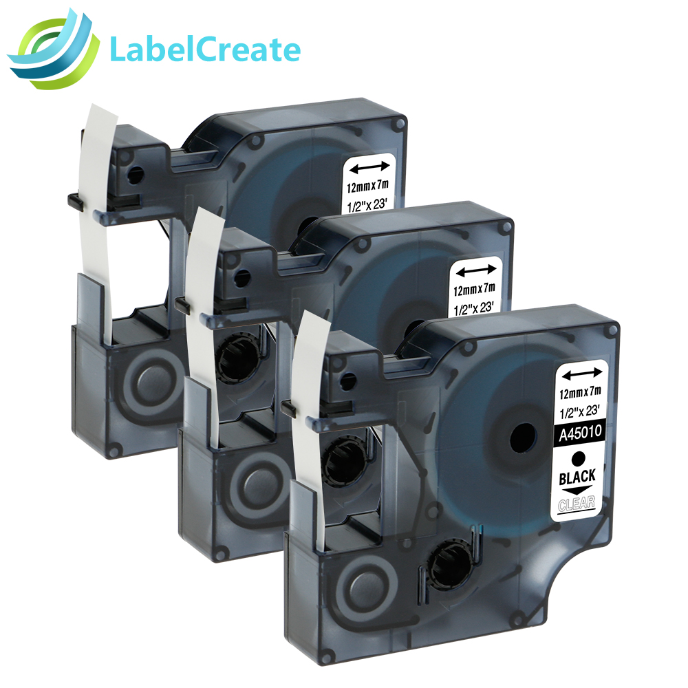 Airmall 3 Pack/lot Compatible DYMO D1 Label Tapes 12mm black on clear 45010 for LabelManager 160 280 420P PnP 220P 360D