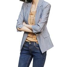 women blazer turn down collar slim Cotton blazer mujer 2019 Solid color stripes Vintage small fragrance vogue blazer New fashion